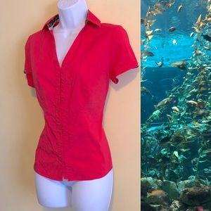 Express Coral Button Down Top Size Small
